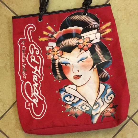 7def421ce32 Ed Hardy Bags   Red Geisha Girl Tote Christian Audigier   Poshmark